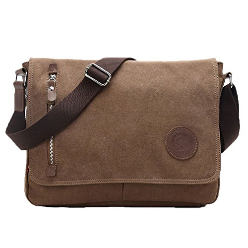 (Egoelife  LB-BBPHF18  Unisex Casual High Quality Canvas Satchel Messenger Bag for Traveling Camping - Coffee)