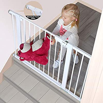 """Cumbor 43.5"""" Auto Close Safety Baby Gate, Extra Tall and Wide Child Gate, Easy Walk Thru Durability Dog Gate for The House, Stairs, Doorways. Includes 4 Wall Cups, 2.75-Inch and 8.25-Inch Extension"""