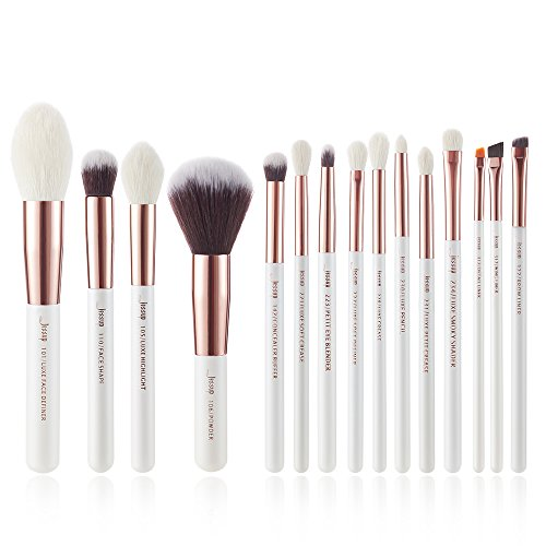 Shader Brush Hair (Jessup Brand 15Pcs Pearl White/Rose Gold Professional Makeup Brushes Set Make up Brush Tools kit Foundation Powder Definer Shader Liner T222)