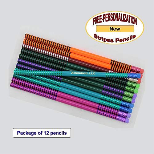 ezpencils - Personalized Stripes Pencils - 12 pkg - ** FREE PERZONALIZATION **