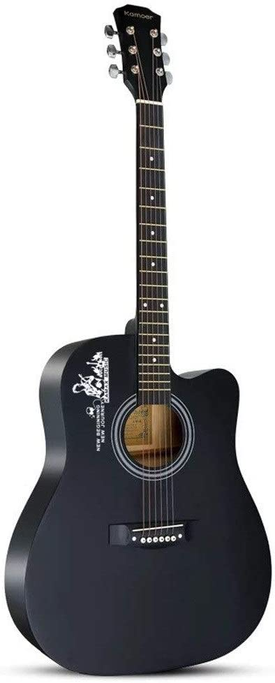 Boll-ATur Guitarra acústica Tamaño completo 38 pulgadas Basswood Cutaway Guitarra Principiante principiantes Estudiantes Paquete for niños con funda, sintonizador, púas, correaStrings-Black Guitarra f