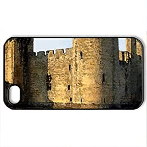 Bodiam Castle, South Sussex, England - Case Cover for iPhone 4 and 4s (Medieval Series, Watercolor style, Black)