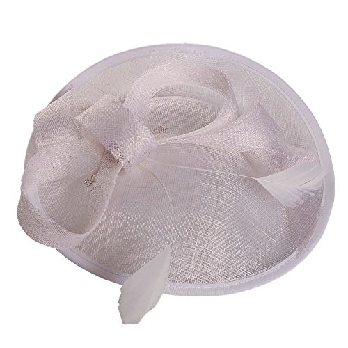 Swyss Fascinators Hat Flower Mesh Bow Ribbons Feathers on a Headband and a Clip Tea Party Headwear for Girls and Women