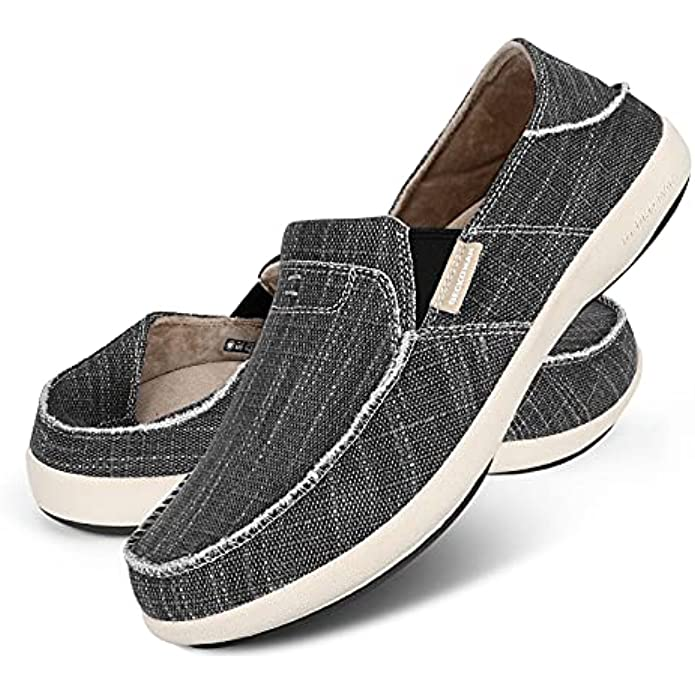 Slip On Shoes for Men, Plantar Fasciitis Canvas Loafer Shoes with Arch Support, Orthopedic Casual Non Slip Shoes with Rubber Sole