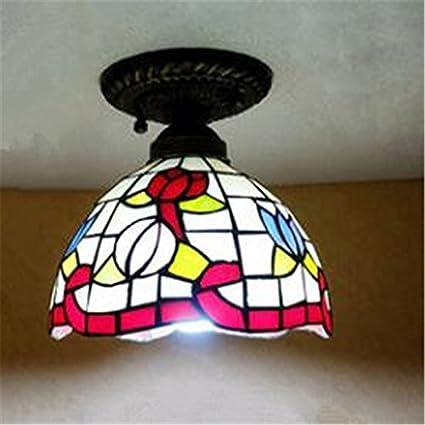 VIA Vintage Vidrieras lámpara de Techo pequeño recibidor ...
