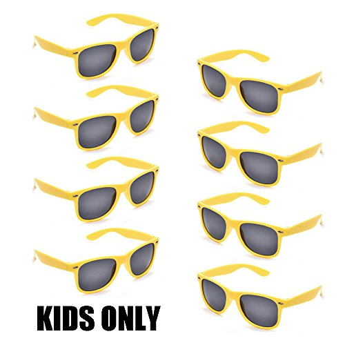 Neon Colors Party Favor Supplies Unisex Sunglasses Pack of 8 for Kids (8 Pack Yellow) ()