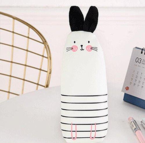 Tery Astuccio per le Matite Utile Cute Coniglio Design Case Pencil PU Leather Cancelleria Storage Box_White