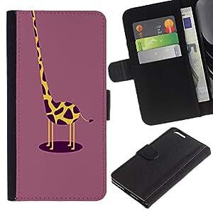 Be Good Phone Accessory // Caso del tirón Billetera de Cuero Titular de la tarjeta Carcasa Funda de Protección para Apple Iphone 6 PLUS 5.5 // funny giraffe plum yellow drawing