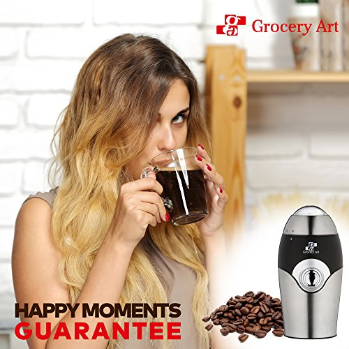 [Upgraded] Electric Coffee Grinder Blade Mill - Small & Compact Simple Touch Automatic Grinding Tool Appliance for Whole Coffee Beans, Spices, Herbs, Pepper, Salt & Nuts - Great Coffee Gift Idea! by Grocery Art (Image #6)