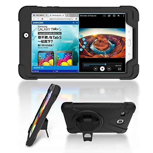 Ycxbox Samsung Galaxy Tab E 8.0 T377 Case, Galaxy Rugged Hand Wrist Kickstand Stand Heavy Duty Kids Proof Protective Case for SM-T377A / SM-T377V / SM-T377P … (Black)