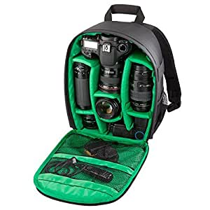 HILLPOW Camera Backpack with Rain Cover, Professional Waterproof Shockproof Partition Compact Bag for SLR/DSLR Cameras and Accessories (Green)