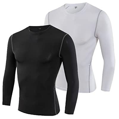 Shimmery Men's 2 Pack Quick Dry Performance Workout T-Shirt Ultratight Long Sleeve Top