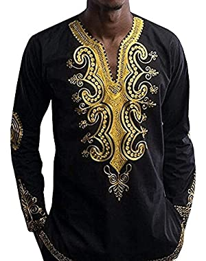 Men's African Dashiki Casual Print Loose Cotton Tops Shirt
