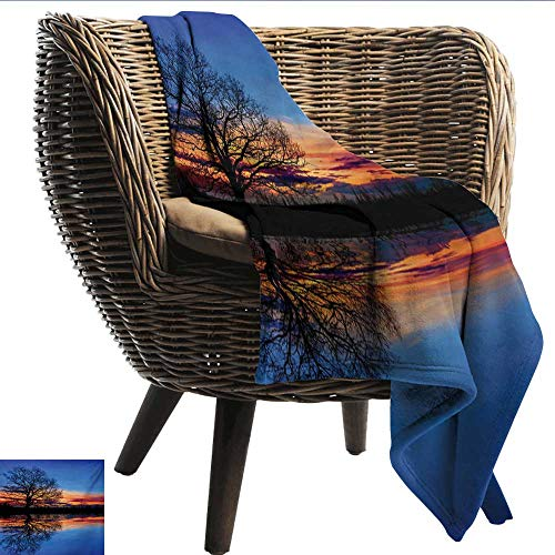 Microfiber All Season Blanket Nature Majestic Full Branch Tree at Twilight with Water Reflection Out Magical Nature View Print Summer Quilt Comforter W80