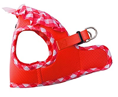 Checkered Frills Soft Mesh Dog Vest Harness Puppy Padded Pet Harnesses for Cat Small Dogs PUPTECK