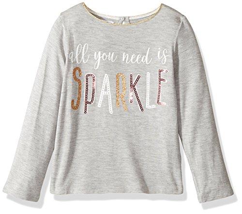 Lg Gold Sequins (Mud Pie Baby Toddler Girls' Glitter Long Sleeve T-Shirt, Gray, LG/ 4T-5T)