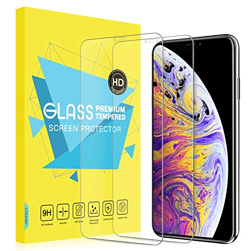 MoKo Screen Protector Replacement with iPhone Xs Max, [2-Pack][Scratch Terminator][Case-Friendly] Bubble-Free Clear 9H Hardness Tempered Glass Screen Protector Fit iPhone Xs Max 6.5 inch 2018, Clear