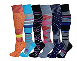 6 Pairs Pack Moderate ( 15-20 mm Hg ) Sports , Travelers , Anti-Fatigue , Graduated Compression Knee High Socks (Assorted)size 9-11
