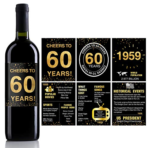 60th Birthday Anniversary Wine Bottle Labels or Stickers Present | 1959 Sign | 60th Anniversary Decorations | Funny Sixty Black Gold Party Decoration Centerpiece Supplies. | Set of 12