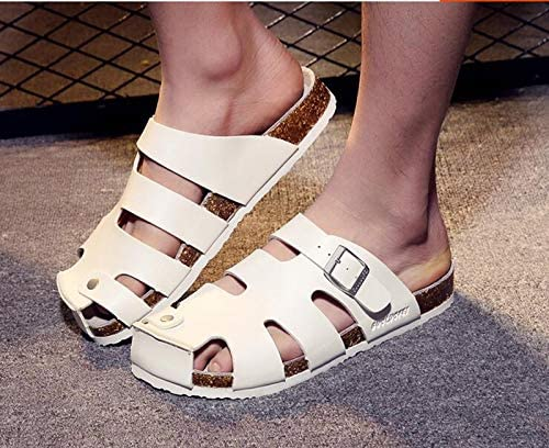 liu guifang Slippers Shoes Closed Toe Beach Black Strap Cork Slides Large Platform Men Sandals Leather Summer Fashion Water Mules