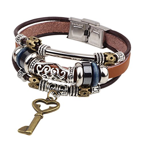 Diamondo Dangle Bracelets with Charms Women Men Multilayers Alloy Leather Cuff Wrap (B) - Alloy Wrap