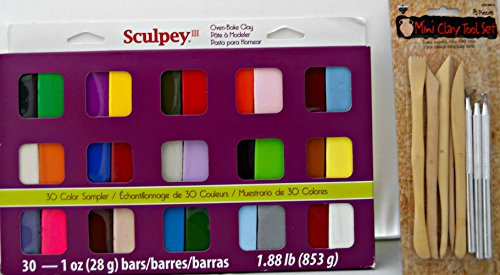 Bundle of 2: Oven Bake Clay 30 Bars(1 oz each) and Mini Clay Tool Set (Sculpey Clay Tool Starter Set compare prices)