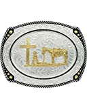 Montana Silversmiths Men's Large Roped Christian Cowboy Belt Buckle Silver One Size