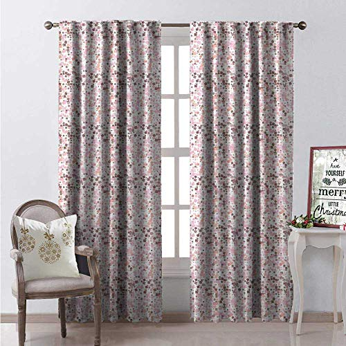 Hengshu Retro Room Darkening Wide Curtains Square Shapes Rounded Edges in Pastel Pinky Shades Mosaic Pixel Tile Composition Waterproof Window Curtain W120 x L108 Multicolor