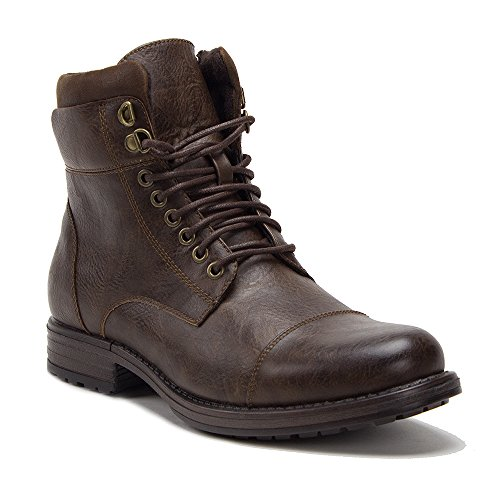 New Men's D-711 Warm Fleece Lined Cap Toe Army Style Combat Lace Up Boots, Brown, 10 (Zip Side Cap)