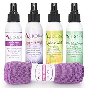 """Aurorae Natural Essential Organic Oil Yoga Mat Wash Cleaner. """"Value Pack all 4 Scents"""" Free Microfiber Cleaning Towel included with each"""