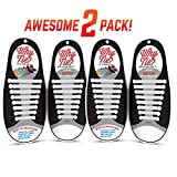 WHY TIE? No-Tie Silicone Shoelaces for Sneakers; White; 2-Pack