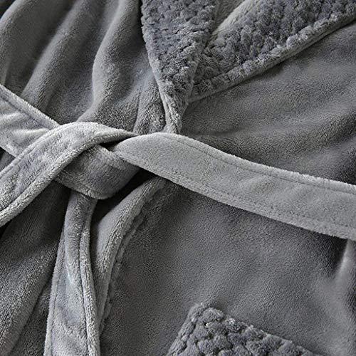 E Otoño Modernas Lana Hombres De Noche Vestido HaiDean Ropa De para Pijamas De Cómoda Suave Albornoz Blue De Y 2 Nner Invierno Coral Casual 866ZqA