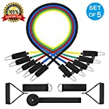 WENFENG 11PC Resistance Bands Set,10lbs to 50lbs Workout Bands - with Door Anchor Handles and Ankle Straps - Stackable Up to 105 lbs - for Resistance Training, Physical Therapy, Home Workouts