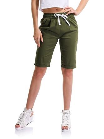 18c548fc4a Sobrisah Women's Casual Drawstring Elastic Waist Knee Length Curling Bermuda  Shorts Army Green Tag M-