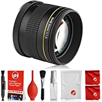 Opteka 85mm f/1.8 Full Frame Aspherical Telephoto Portrait Lens for Nikon DSLR with Removable Hood and Optical Cleaning Kit