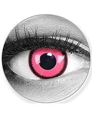 Funnylens Kolorowe różowe soczewki kontaktowe Rose Lunatic - miękkie bez mocy opakowanie 2 szt. + gratis pojemnik - soczewki 12 miesięczne - idealne na Halloween, karnawał lub noc