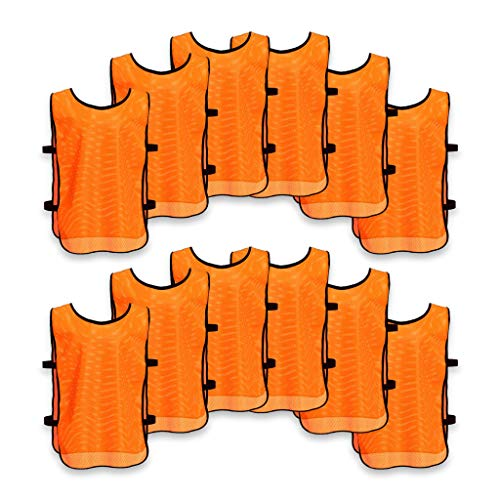 Unlimited Potential Nylon Mesh Scrimmage Team Practice Vests Pinnies Jerseys Bibs for Children Youth Sports Basketball, Soccer, Football, Volleyball (12 Pack, Open Sided Orange, Adult)