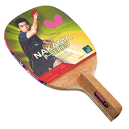 Butterfly Nakama P-1 Table Tennis Racket with 2 Balls - Japanese Penhold Carbon Blade - Sriver 1.9mm Rubber - ITTF Approved