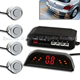 1X After Market Wireless Parking Backup Reverse Sensor Radar Kit 4Pc Silver Led