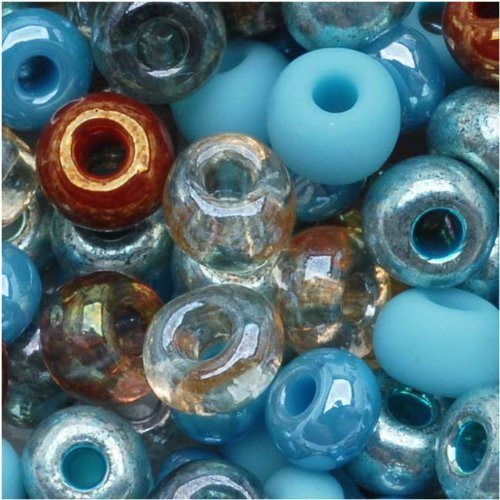 Czech Seed Beads 6/0 'Blue Turquoise Grotto' Mix (1 Ounce)