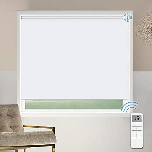 Motorized Blackout Window Shades Blinds, Remote Control Wireless and Rechargeable, White Roller Shades Blinds for Windows, Home, Office, Hotel, Club, Restaurant, French Door, Sliding Door