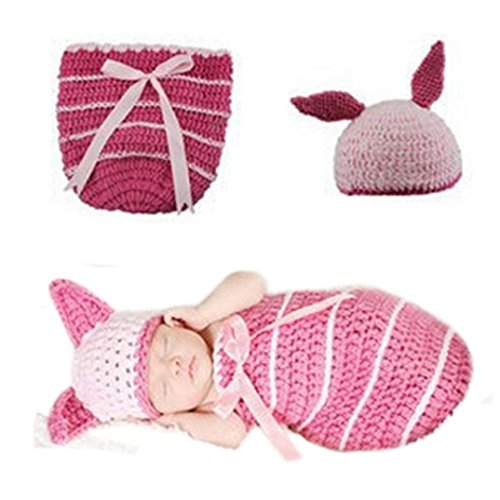 Best Hick Costume (Baby Knit Swaddle Blanket Sleep Bag & Hat Newborn Pink Bunny Baby Swaddle Blanket Costume Photography Prop Suit By Makaor (For baby about 0-4 Months old, Pink))