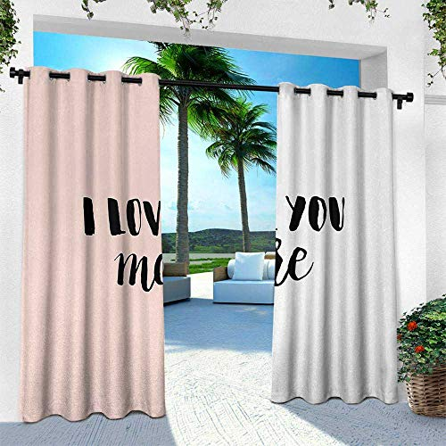Hengshu I Love You More, Exterior/Outside Curtains,Typographic Hand Written Phrase on Minimal Geometric Background, W84 x L108 Inch, Coral White Black