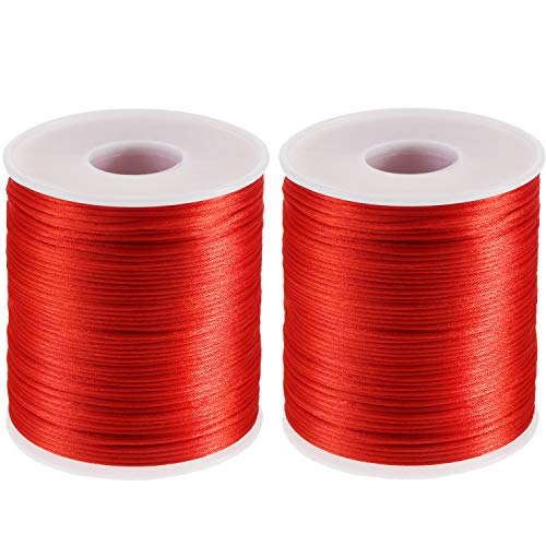 TecUnite 2 Rolls 218 Yards Totally Satin Nylon Trim Cord Trim Thread Rattail Cord for Chinese Knot DIY Craft, Red
