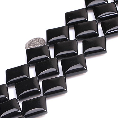 Joe Foreman Black Agate Beads for Jewelry Making Natural Semi Precious Gemstone 20mm Square Strand 15