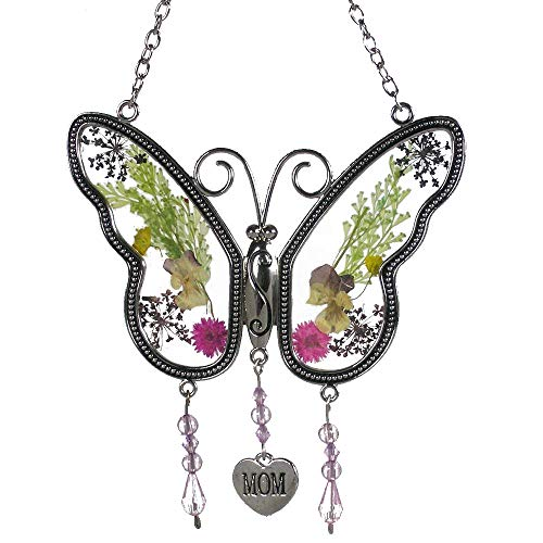 KOLIN Mom Butterfly Mother Suncatcher with Pressed Flower Wings - Butterfly Suncatcher - Mom Gifts Gift for Mother's Day]()