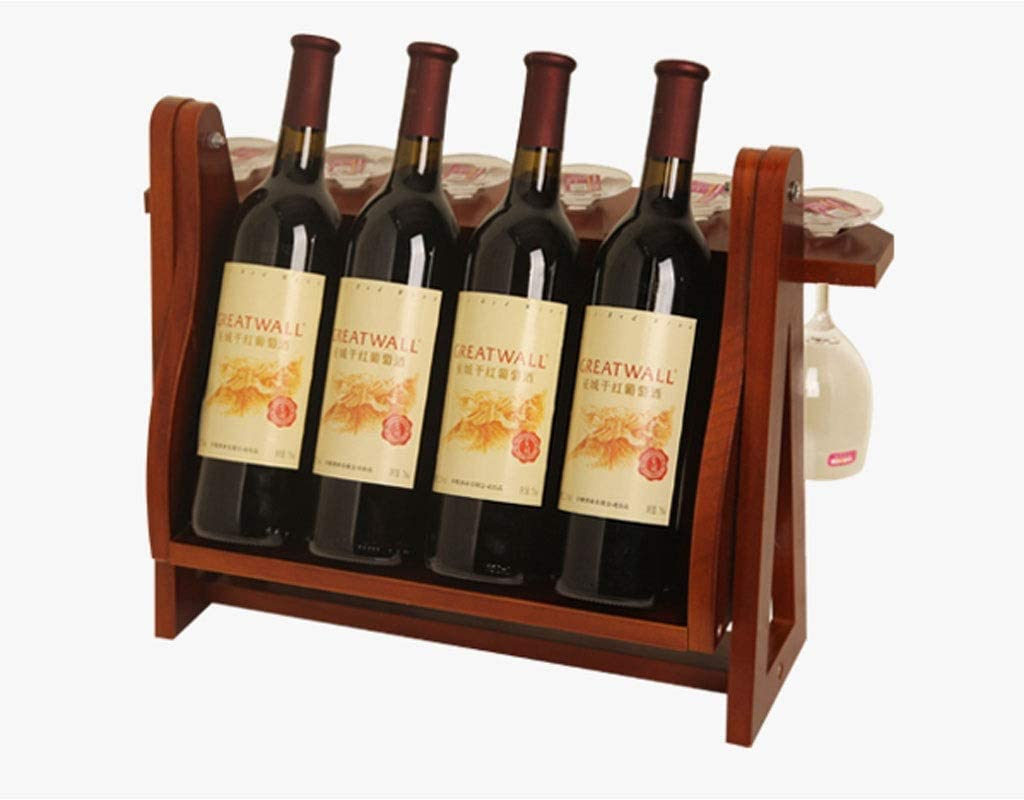 YBYB Wood Wine Rack Free Standing, Tabletop Countertop Wine Bottle And Glass Holder, Wine Storage Organizer For Kitchen/Dining Room/Bar (Color : Brown) Roasted Color