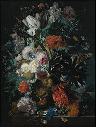 The Perfect Effectキャンバスの油絵` Jan Van Huysum、花瓶の花、について1720」、サイズ: 10x 13インチ/ 25x 33cm、このが安いアート装飾アート装飾プリントキャンバスは、フィットの地下室装飾、ホームとギフトの商品画像