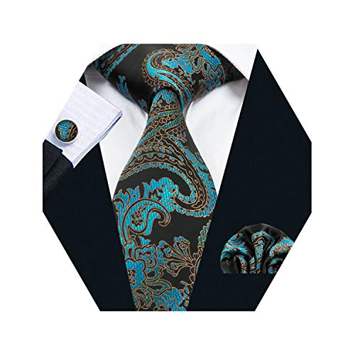 - Barry.Wang Men Tie Set Solid Silk Necktie Pocket Square Cufflinks Extra Long Tie (Green Paisley)