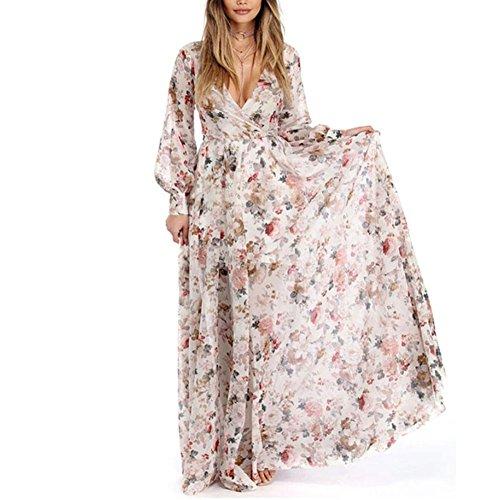 HODOD Summer Fashion Women's Beige V-Neck Long Sleeve Chiffon Floral Long Maxi Evening Party Dress XL (Silk Dress Long)